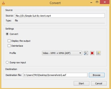 convert mp4 to wma in vlc
