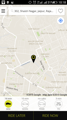 ola cab booking with mobile
