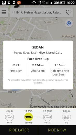 OLA SEDAN CAB RATES