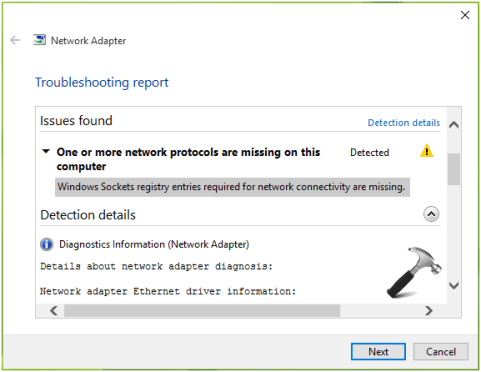 Windows sockets registry entries required for network connectivity are missing