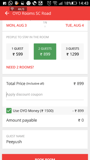 oyo free room book from app