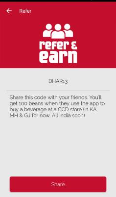 cafe coffee day refer code