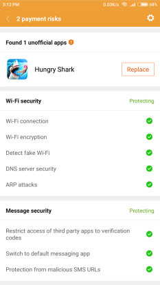 payment security in miui 8