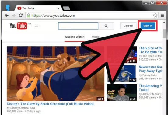 log in youtube
