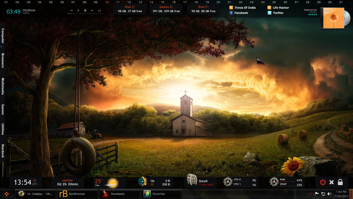 the darkness fall skin is an incredible rainmeter theme this theme shows a beautiful landscape in the background to bring a feeling of joy to your screen