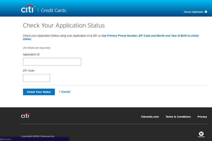 Credit Card Application Status