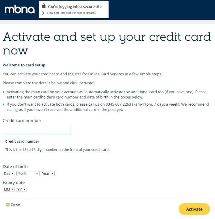 activate mbna card