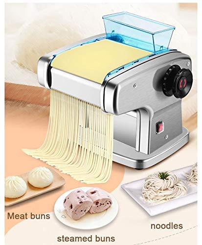 Abhsant Automatic Electric Pasta Maker Maker Dumplings Noodle Pressing Double Blade Cover Manual Noodles Making Machine(Silver Color)