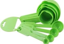 JD Brand Plastic Measuring Cups Spoons Set of 8 Pieces Kitchen Tool,Spoons for Kitchen, Bakeware - Green