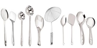 Petals Stainless Steel Cooking and Serving Spoon Set, 10-Pieces, Silver