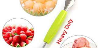 S.B. ANJALI SHALU BHAI 2 in 1 Melon Ball Maker and Stainless Steel Multi Functional Dig Scoop with Carving Knife for DIY Fruit Salads and Desserts Cake Ice Cream Scooper (Multicolour)