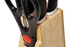 SHOPPERSKY Wood Kitchen Knife Set with Wooden Block and Scissors, Knife Set for Kitchen with Stand, Knife Set for Kitchen use, Knife Holder for Kitchen with Knife 5-Pieces (Black)