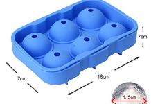 Styleys Flexible Silicone Spherical 6 Round Ball Ice Cube Tray Maker Mold with Lid Perfect Ice Spheres for Whiskey Lovers Cocktails, Non-Alcoholic Beverages (6 Round)