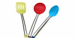 THW Silicone Spatula, Skimmer & ladle Set of 3 Pcs. - Random Colors