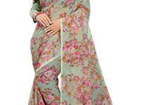 Jaanvi Fashion Women's Floral Chiffon Printed Saree With Blouse