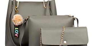 Mammon Women's Handbag & Sling Bag (Set of 3) (3LR-bib-Grey_Grey)