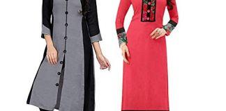 Pramukh Fashion Women's Cotton Straight Kurta Pack Of 2