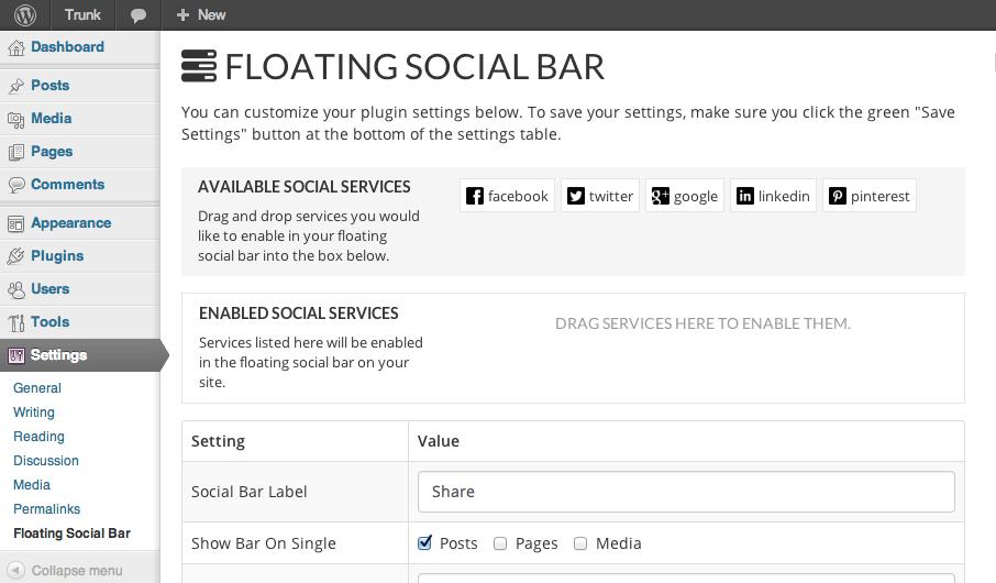 Floating Social Bar Settings Page