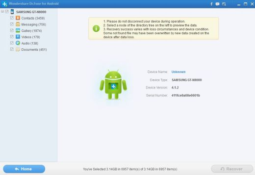 Dr Fone, Android Data Recovery