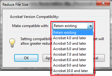 Acrobat compatibility version