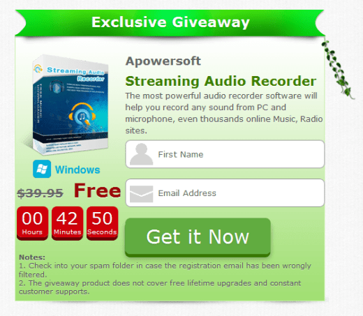Apowersoft Streaming Audio Recorder Giveaway