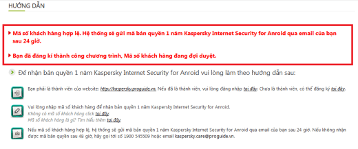 Kaspersky Success Message