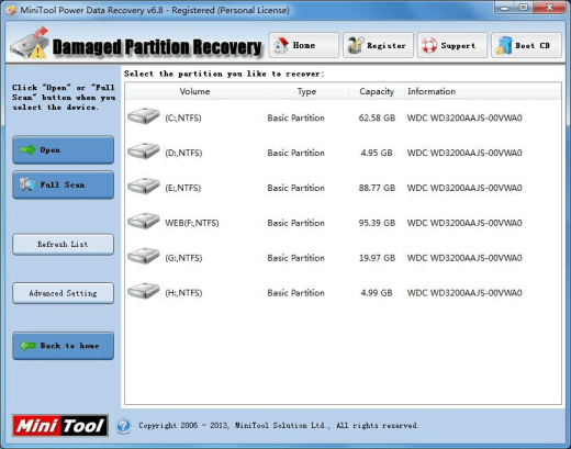 MiniTool Power Data Recovery v6.8