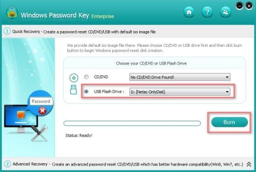 burn a password reset disk