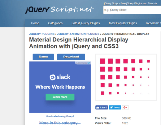 Material design hierarchical display jQuery Plugin