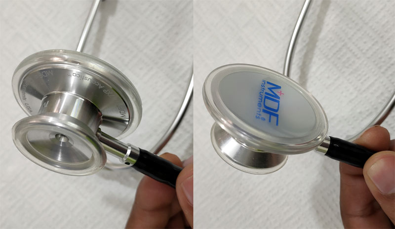 MDF Stethoscope front and back side