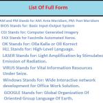 List of Full Form