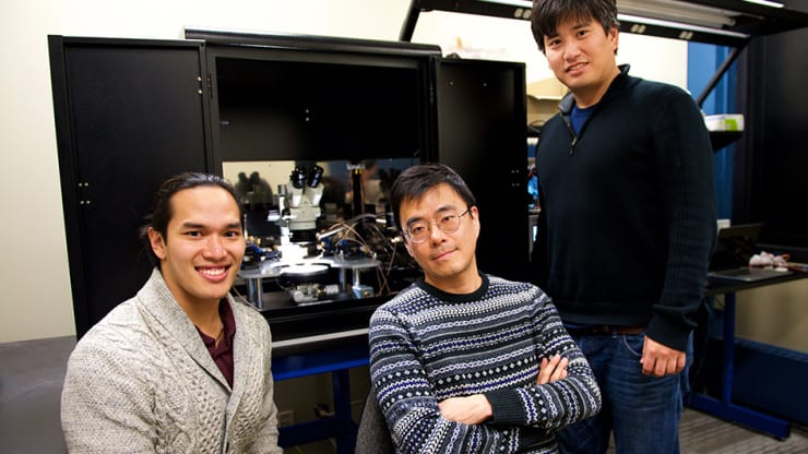 """From left, MIT researchers Scott H. Tan, Jeehwan Kim and Shinhyun have unveiled a neuromorphic chip design that could represent the next leap for AI technology. The secret: a design that creates an artificial synapse for """"brain on a chip"""" hardware."""