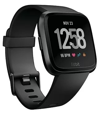 Fitbit Versa Smartwatch BlackBlack Aluminium One Size S L Bands Included