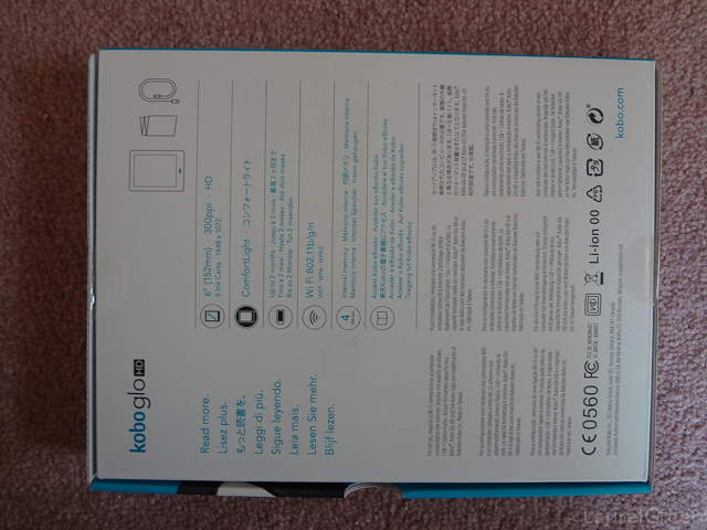a photo of the back of a kobo glo hd box