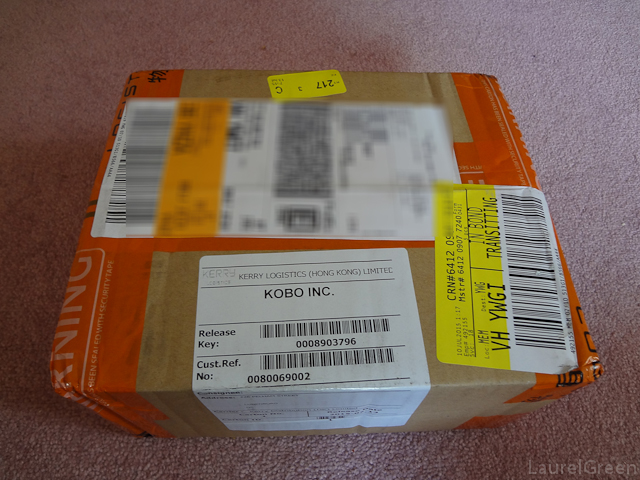 a photo of the box a kobo hd glo is shipped in