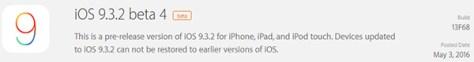 Apple Seeds 4th iOS 9.3.2 betas