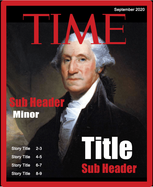 screenshot of a PowerPoint template to create a Time magazine cover