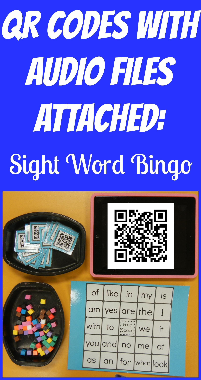 Audio Qr Codes Sight Word Bingo
