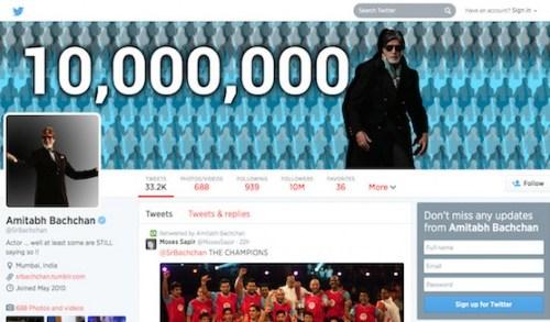 बलिउडका महानायक बच्चनको १ करोड ट्वीटर फलोअर