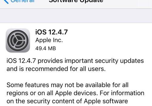 एप्पलका पुराना आईफोनहरु र आईप्याडहरुका लागि आईओएस १२.४.७ संस्करण जारी