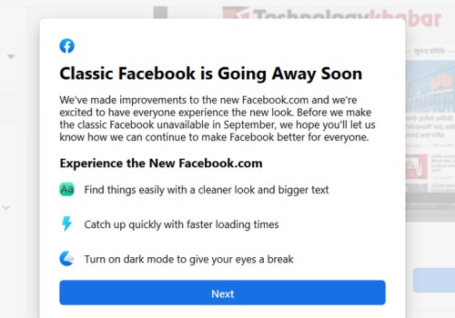 क्लासिक फेसबुक सेप्टेम्बरदेखि उपलब्ध नहुने, प्रयोगकर्ताहरुलाई पेजबाटै जानकारी दिँदै