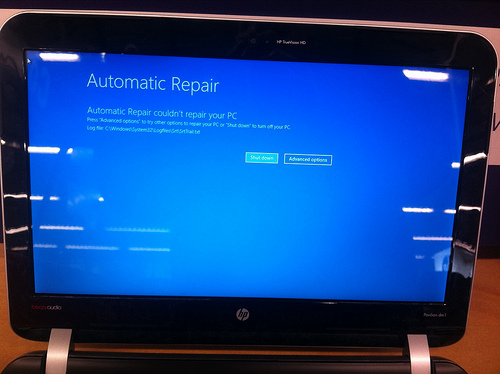 Automatic Repair and that it couldn't repair the PC.