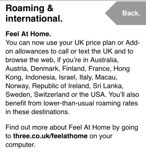So before this visit to Dublin I checked the Three website and was pleasantly surprised to find out that I could use my phone abroad with no extra costs!