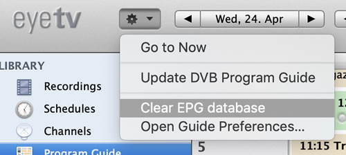 Clear EPG database