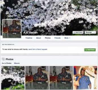 Fake Facebook account of Air Chief Marshal AS Badeh on Facebook