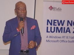 Leo Stan Ekeh, Chairman of Zinox addressing attendees at the formal launch of the Nokia Lumia 2520, a tablet PC from the Microsoft Devices