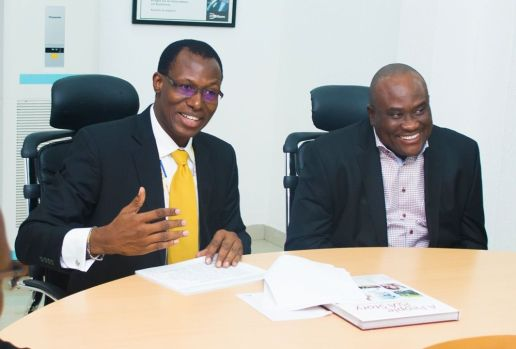 Engr Gbenga Adebayo, Founder of CNSSL Contact Centre Ltd and Mr Mike Ikpoki, CEO of MTN Nigeria, during the visit