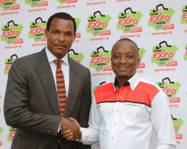 Chairman, Phone and Allied Products Dealers Association of Nigeria (PAPDAN), Mr Iyke Nwosu (left) and Group CEO, Technology Times, Mr Shina Badaru, at the announcement of Phone Expo Nigeria 2014 Conferences and Exhibitions (PEN 2014) alliance between the two organisations at the weekend in Lagos