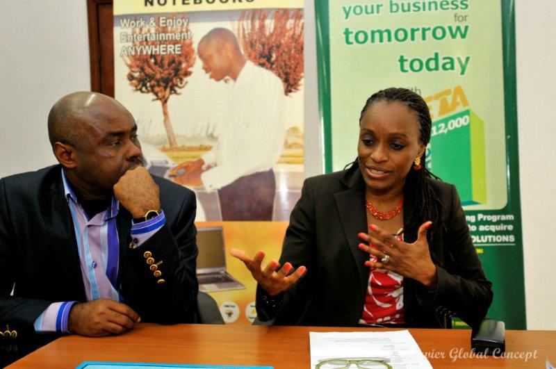 Mr Will Anyaegbunam, CEO of Beta Computers (left) and Dr Mrs Omobola Johnson, Minister of Communication Technology, when the latter visited the Speedstar Computers brand manufacturing plant of Beta Computers Limited in Lagos