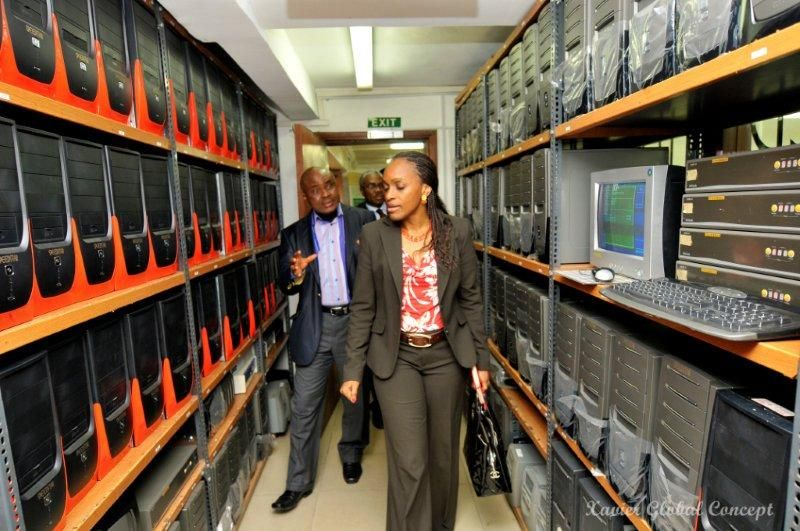 Dr Mrs Omobola Johnson, Minister of Communication Technology, at the Speedstar Computers brand manufacturing plant of Beta Computers Limited in Lagos